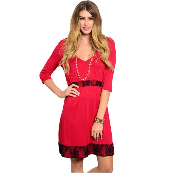 Shop The Trends Women's Lace-waist Midi Dress