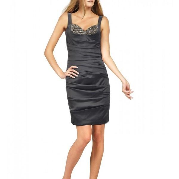 La Femme Women's Gunmetal Beaded Sweetheart Mini Dress