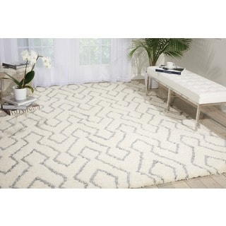 Nourison Galway Ivory/ Blue Shag Rug (7'6 x 9'6)