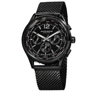 Akribos XXIV Men's Chronograph Mesh Stainless Steel Strap Bracelet Watch