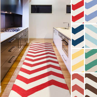 West Flatweave Chevron Runner (2'6 x 8')