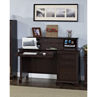 Mulberry Single Pedestal Desk and Isabella Hutch with Charging Station
