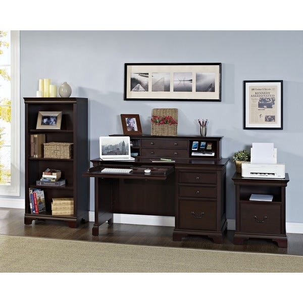 Mulberry 4-piece Pedestal Desk and Hutch with Charging Station