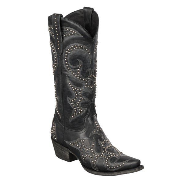 Lane Boots Women's 'Lovesick Stud' Black Leather Cowboy Boots