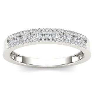 De Couer 14k White Gold 1/4ct TDW Diamond Wedding Band (H-I, I2) with Bonus Necklace