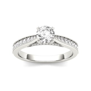 De Couer 14k White Gold 1 1/6ct TDW Diamond Solitaire Engagement Ring (H-I, I2) with Bonus Necklace
