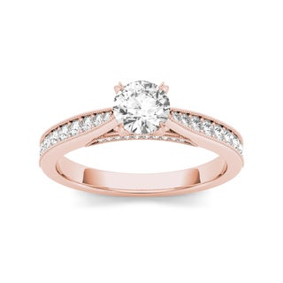 De Couer 14k Rose Gold 1 1/6ct TDW Diamond Solitaire Engagement Ring (H-I, I2)
