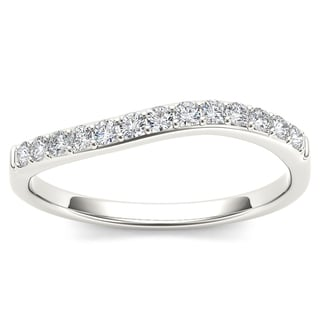 De Couer 10k White Gold 1/4ct TDW Curved Diamond Wedding Band (H-I, I2) with Necklace