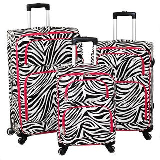 World Traveler Zebra 3-Piece Expandable Lightweight Spinner Upright Luggage Set