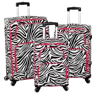World Traveler Zebra 3-Piece Expandable Lightweight Spinner Upright Luggage Set