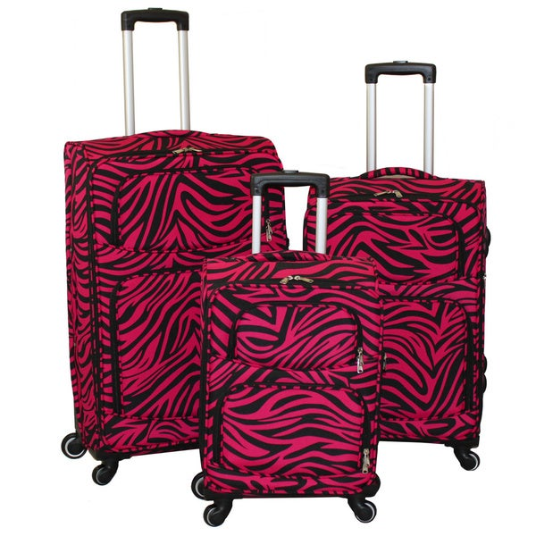 World Traveler Black/ Fuchsia Zebra 3-piece Expandable Lightweight Spinner Upright Luggage Set