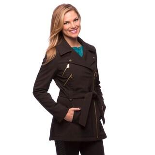 Via Spiga Women's Moto Style Coat with Leopard Fleece Lining