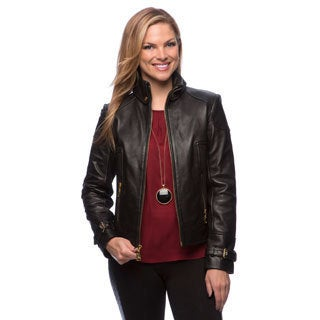 Via Spiga Women's Black Leather Jacket