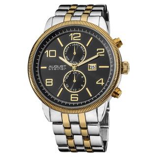 August Steiner Men's Swiss Quartz Coin Edge Bezel Bracelet Watch