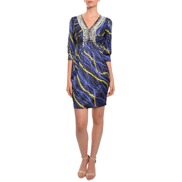 Prairie New York Beaded Ruched Silk Printed Cocktail Dress
