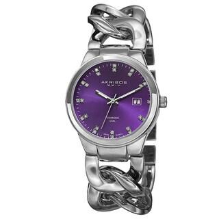 Akribos XXIV Women's Swiss Quartz Diamond-Accented Chain Link Bracelet Watch