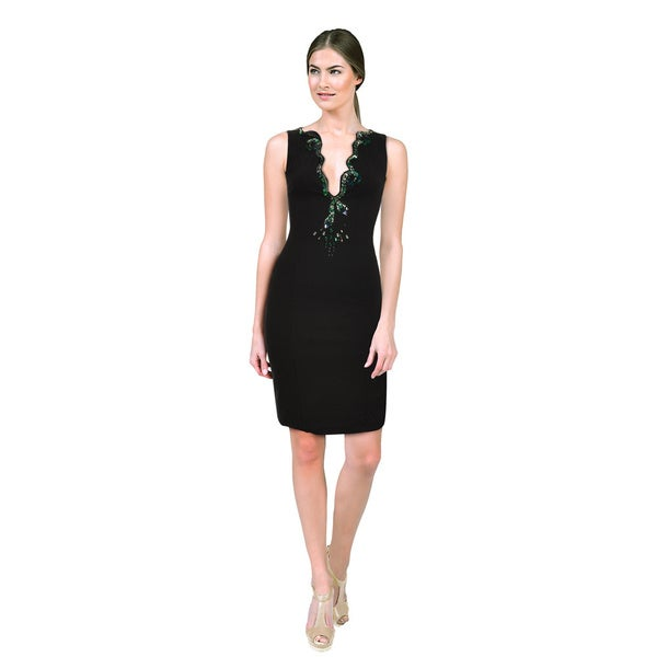 Roberto Cavalli Sultry Black Jersey Stretch Embroidered Rhinestone Cocktail Dress