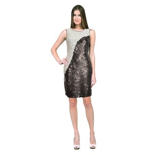 Andrew Marc New York Two-Tone Black White Allover Sequin Cocktail Dress
