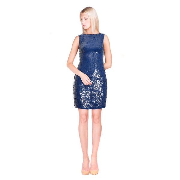 Alice + Olivia Cobalt Blue Sequin Sleeveless Cocktail Evening Dress (Size 6)
