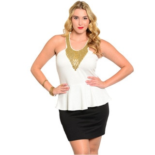 Feellib Women's Plus Size Sleeveless Two Tone Peplum Dress With Racer Front And Embellished Neckline