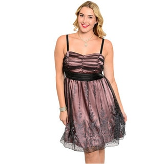Feellib Women's Plus Size Spaghetti Strap Empire Cut Dress With Sheer Tulle Layer And Intricate Hem Design