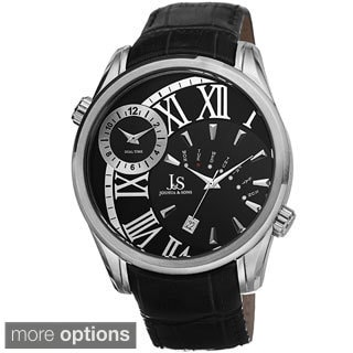 Joshua & Sons Men's Dual Time Genuine Leather Strap Watch