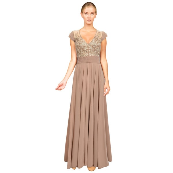 Alberto Makali Embellished Bodice Cap Sleeve Formal Evening Gown Dress