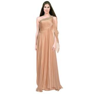 Alberto Makali Blush Rhinestone One Shoulder Formal Evening Gown Dress