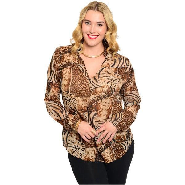 Shop The Trends Women's Plus Size Long Sleeve Woven Top With Allover Animal Print And Split Neckline