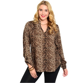 Feellib Women's Plus Size Long Sleeve Woven Top With Allover Leopard Print And Split Neckline