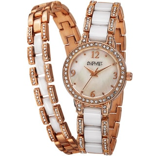 August Steiner Women's Crystal-Accented Ceramic Bracelet Set Watch