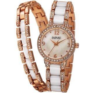 August Steiner Women's Crystal-Accented Ceramic Bracelet Set Watch