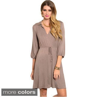 Feellib Women's Quarter Sleeve Midi Dress With Cinched Drawstring Waistline And Blouson Style Sleeves