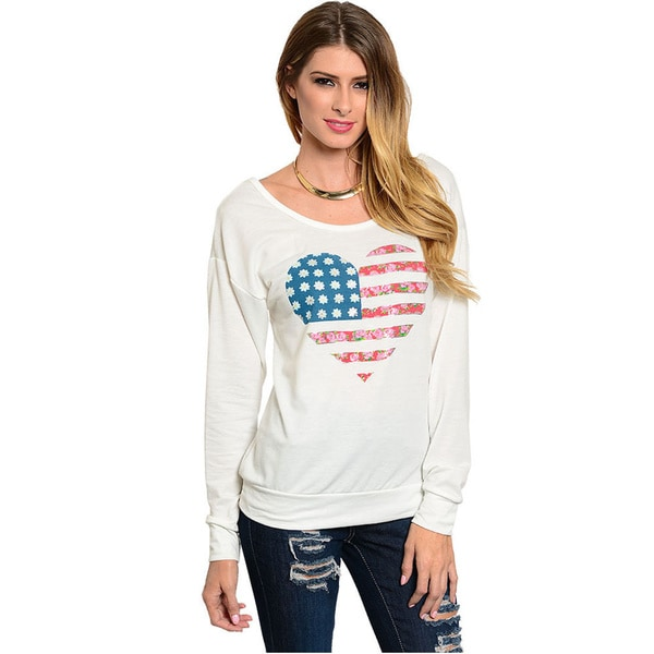 Shop The Trends Women's Long Sleeve Knit Top With Patriotic Theme Floral Heart Print And Low V-Back