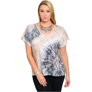 Feellib Women's Plus Size Short Sleeve Knit Top With Tie-Dye Inspired Print And Studed Shoulders