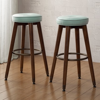 Retro Aqua Bonded Leather Tufted Wood Bar Stools (Set of 2)