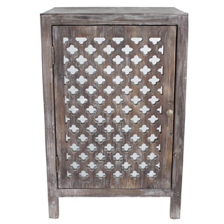 Distressed Grey Quatrefoil End Table with Mirror Accent