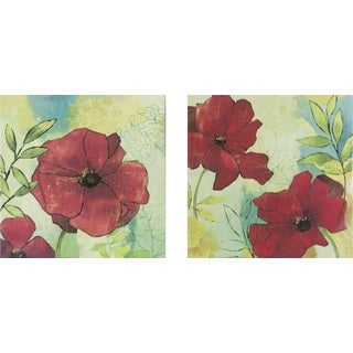 Scarlet Florals Canvas Art (Set of 2)