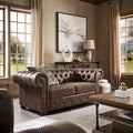 Tribecca Home Knightsbridge Brown Bonded Leather Tufted Scroll Arm Chesterfield Loveseat