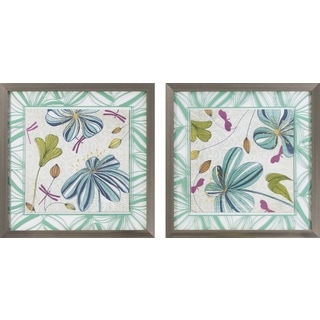 Flowers & Dragonflies Painted Wall Art (Set of 2)