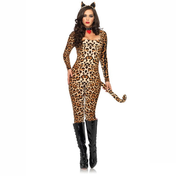 Leg Avenue Women's 3-piece Cougar Brushed Cat-suit Costume