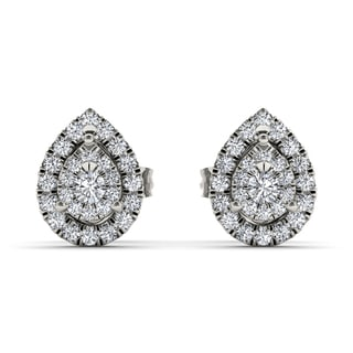 De Couer 10k White Gold 1/4ct Diamond Pear Shape Stud Earrings (H-I, I2)
