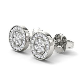 De Couer 10k White Gold 1/8ct White Diamond Halo Stud Earrings (H-I, I2)