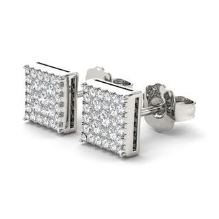 De Couer 10k White Gold 1/2ct Diamond Square Shape Stud Earrings (H-I, I2)