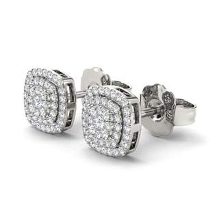 De Couer 10k White Gold 1/3ct Diamond Round-cut Composite Earrings (H-I, I2)