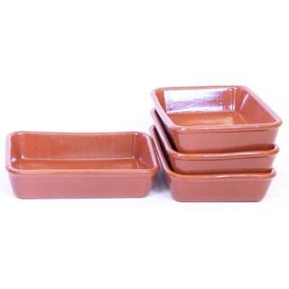 4 Piece Small Elegant Terracotta Baking Tray Set