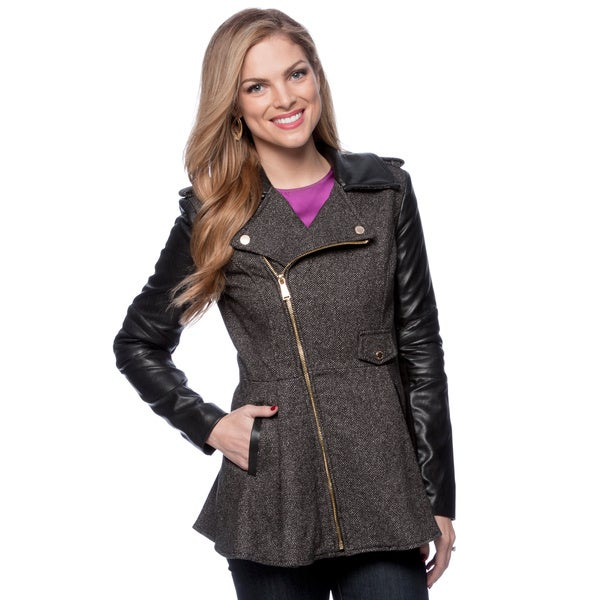 BCBG Wool Asymmetrical Faux Leather Collar Coat