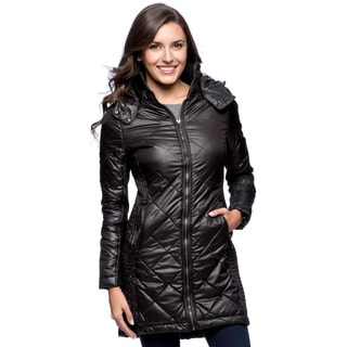 BCBG Womens' Black Rouched-side Packable Jacket
