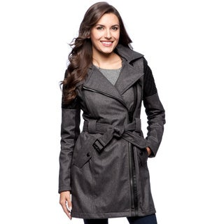 BCBG Women's Grey Herringbone Soft Shell Coat