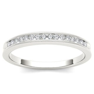 De Couer 10k White Gold 1/6ct TDW Diamond Milgrain Wedding Band (H-I, I2)